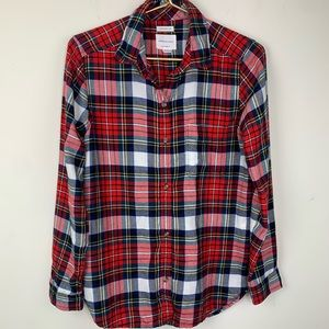 AEO red plaid flannel boyfriend fit shirt, S
